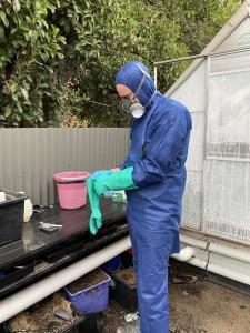Jo's husband, John Absolon, prepares for weekly plant quarantine treatment (Image: Jo Howski)