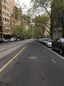 Morning rush hour Collins Street Melbourne during Stage 4_-min